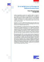 El rol de Bolivia en el Consejo de Defensa Suramericano