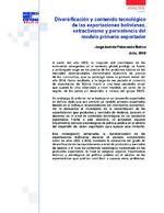Diversificación y contenido tecnológico de las exportaciones bolivianas, extractivismo y persistencia del modelo primario exportador