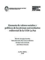 Encuesta de valores sociales y políticos de los jóvenes universitarios millennial de la UCB-La Paz